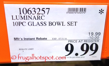 Luminarc 10-Piece Nesting Tempered Glass Bowls Costco Price | Frugal Hotspot