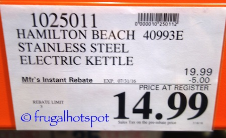 Hamilton Beach Stainless Steel Electric Kettle (40993E) Costco Price | Frugal Hotspot