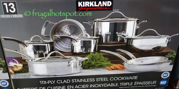 Costco Sale: Kirkland Signature 13-Pc Tri-Ply Stainless Steel Cookware $139.99