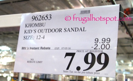 Khombu Kid's Outdoor Sandal Costco Price | Frugal Hotspot