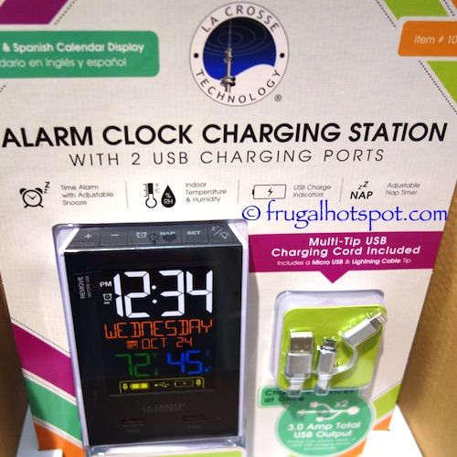 Costco Sale: La Crosse Color LCD Alarm Clock Charging Station $14.99