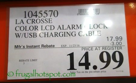 La Crosse Color LCD Alarm Clock Charging Station Costco Price | Frugal Hotspot