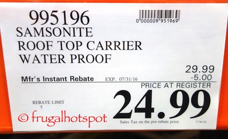 Samsonite Waterproof Rooftop Soft-side Cargo Carrier Costco Price | Frugal Hotspot