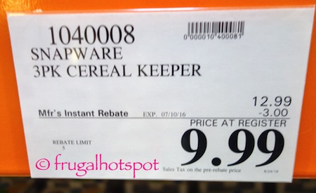 Snapware 3-Pack Cereal Keeper Costco Price | Frugal Hotspot
