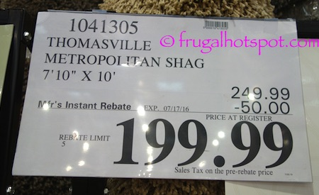"Thomasville Marketplace Shag Rug 7'10"" x 10' Costco Price 