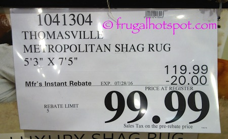 "Thomasville Marketplace Shag Rug 5'3"" x 7'5"" Costco Price 