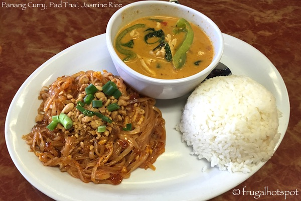 Ting Tong Thai Cafe hicken Panang Curry, Pad Thai, and Jasmine Rice combo