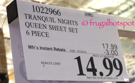 Tranquil Nights 6-Piece Queen Size Sheet Set Costco Price | Frugal Hotspot