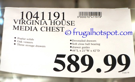 Virginia House Media Chest Costco Price | Frugal Hotspot