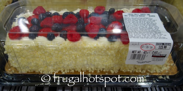 Fresh Fruit Topped Bar Cake with Vanilla Whipped Mouse Costco| Frugal Hotspot