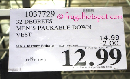 32 Degrees Men's Packable Down Vest Costco Price | Frugal Hotspot