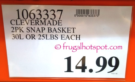 CleverMade SnapBasket Snap Up Shopping Tote 2-Pack Costco Price | Frugal Hotspot