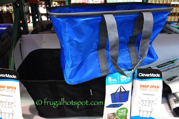 CleverMade SnapBasket Snap Up Shopping Tote 2-Pack Costco | Frugal Hotspot