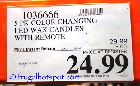 5 Color Changing LED Wax Candles Costco Price | Frugal Hotspot
