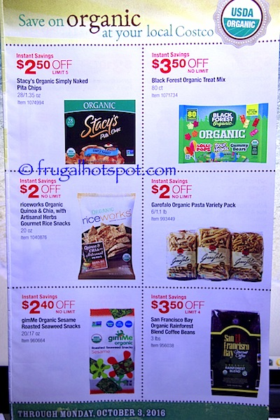 Costco Organic Coupon Book (9/6/16 - 10/3/16). Page 2. | Frugal Hotspot