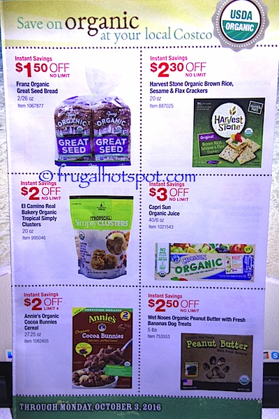 Costco Organic Coupon Book (9/6/16 - 10/3/16). Page 4. | Frugal Hotspot
