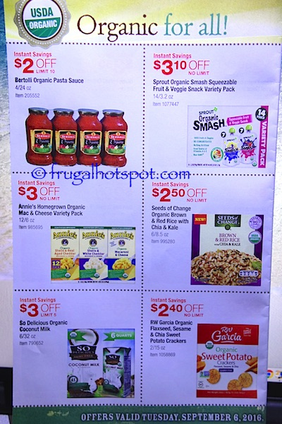 Costco Organic Coupon Book (9/6/16 - 10/3/16). Page 3. | Frugal Hotspot