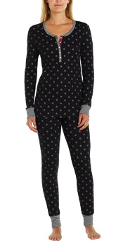Jane & Bleecker Ladies' Thermal Pajama Set Black Costco