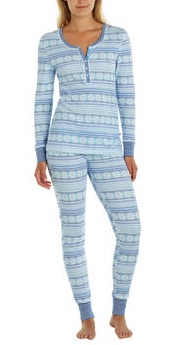 Jane & Bleecker Ladies' Thermal Pajama Set Blue Costco
