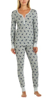 Jane & Bleecker Ladies' Thermal Pajama Set Gray Costco