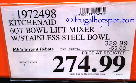 KitchenAid 6-Quart Bowl Lift Stand Mixer Costco Price | Frugal Hotspot