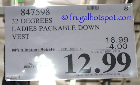 32 Degrees Ladies Packable Down Vest Costco Price | Frugal Hotspot