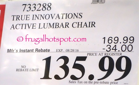 Costco Sale True Innovations Active Lumbar Chair 13599 Frugal