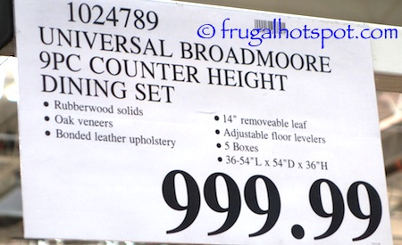 Universal Furniture Broadmoore 9-Piece Counter Height Dining Set Costco Price | Frugal Hotspot