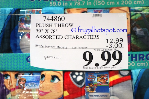 Oversized Plush Throw Assorted Characters Costco Price | Frugal Hotspot