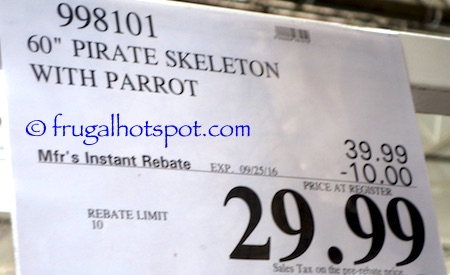 Pose-n-Stay Pirate Skeleton with Parrot Costco Price | Frugal Hotspot