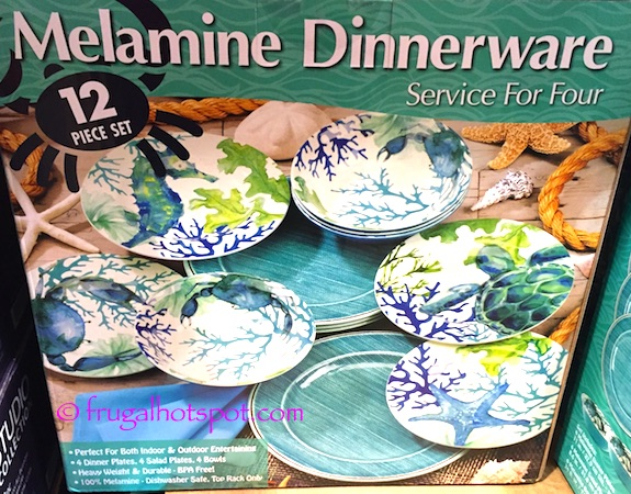 Sea Life Melamine 12-Pc Dinnerware Set Costco | Frugal Hotspot