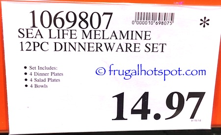 Sea Life Melamine 12-Pc Dinnerware Set Costco Price | Frugal Hotspot