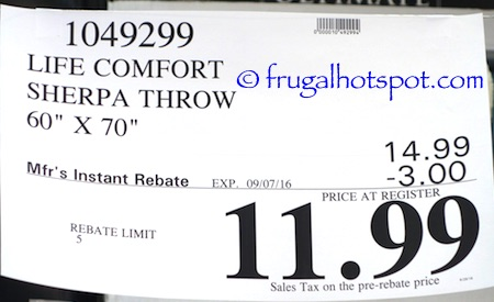 "Life Comfort Ultimate Sherpa Throw 60"" x 70"" Costco Price 