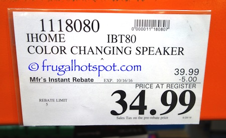iHome IBT80 Color Changing Speaker Costco Price | Frugal hotspot