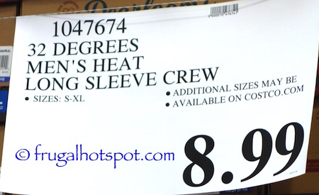 32 Degrees Heat Men's Long Sleeve Crew Neck Thermal Top Costco Price | Frugal Hotspot
