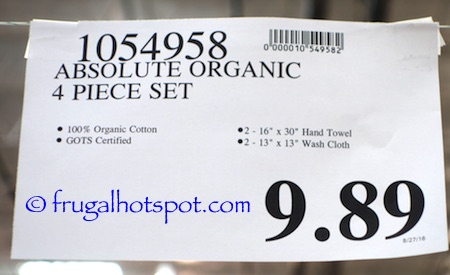 Absolute Organic Cotton 4-Piece Towel Set Costco Price | Frugal Hotspot