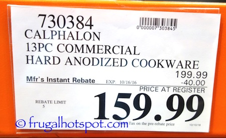 Calphalon Commercial Nonstick 13-Piece Cookware Set Costco Price | Frugal Hotspot