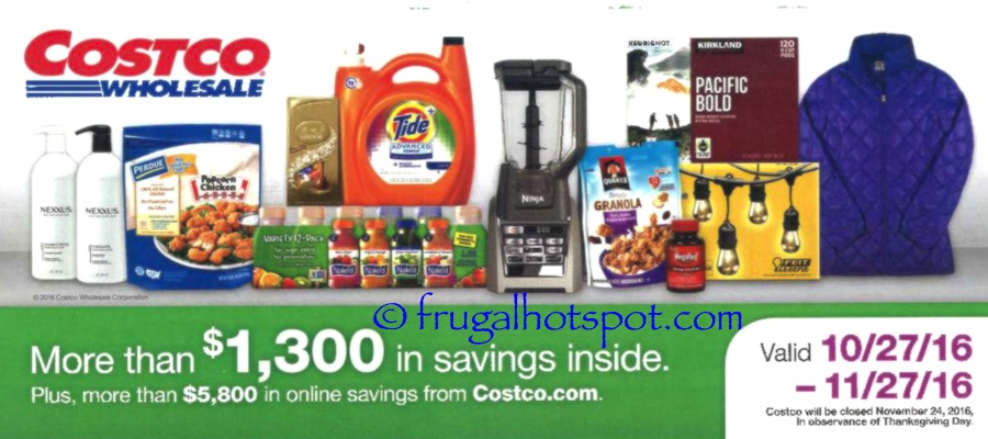 Costco Coupon Book: October 27, 2016 - November 27, 2016. Frugal Hotspot
