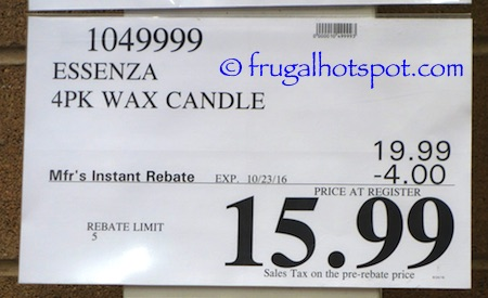 Essenza Luxury Fragrance Candle 4-Pack Costco Price | Frugal Hotspot