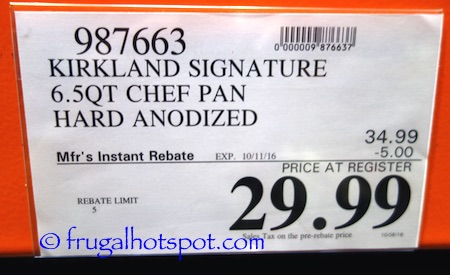 Kirkland Signature Ultimate Chef's Pan 6.5 Quart Costco Price | Frugal Hotspot