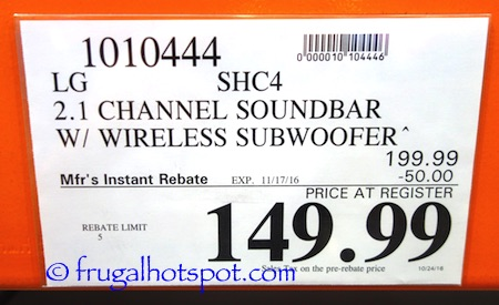 LG SHC4 2.1 Channel Sound Bar with Wireless Subwoofer Costco Price | Frugal Hotspot