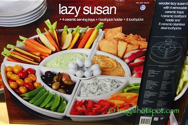 Lazy Susan with 4 Ceramic Serving Trays Costco | Frugal Hotspot