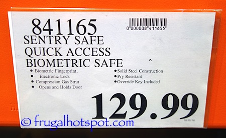 Sentry Safe Quick Access Biometric Pistol Safe Costco Price | Frugal Hotspot
