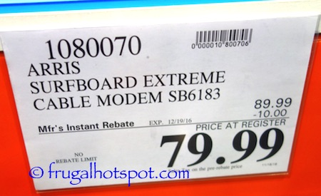 Arris SURFboard SB6183 Cable Modem Costco Price | Frugal Hotspot