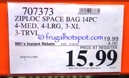 Ziploc Space Bag 14-count Variety Costco Price | Frugal Hotspot