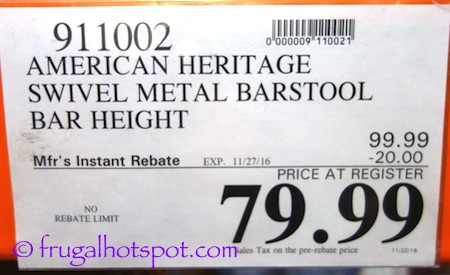 American Heritage Swivel Bar Height Barstool Costco Price | Frugal Hotspot