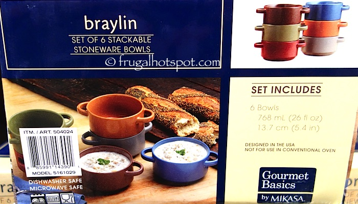 Gourmet Basics by Mikasa Braylin Set of 6 Stackable Stoneware Bowls Costco | Frugal Hotspot