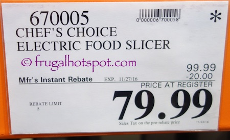 Chef's Choice Premium Electric Food Slicer Costco Price | Frugal Hotspot