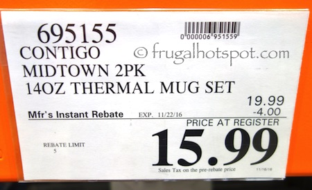 Contigo Midtown Vacuum-Insulated Travel Mugs 2-Pack Costco Price | Frugal Hotspot