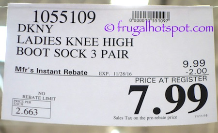 DKNY Ladies Knee High Boot Socks 3-Pairs Costco Price | Frugal Hotspot